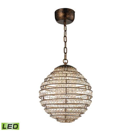 ELK Lighting 11730-LED Crystal Sphere Light Pendant in Spanish Bronze