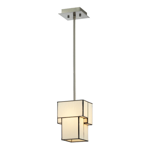 ELK Lighting 72062-1 Cubist 1-Light Mini Pendant in Brushed Nickel with White Tiffany Glass