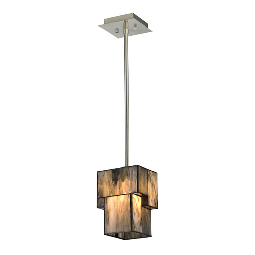 ELK Lighting 72072-1 Cubist 1-Light Mini Pendant in Brushed Nickel with White Tiffany Glass