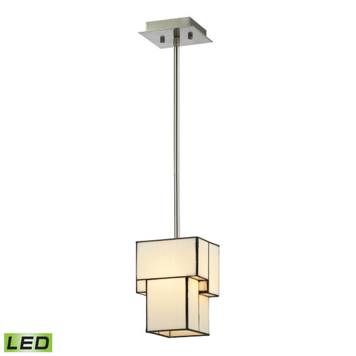 ELK Lighting 72062-1-LED Cubist 1-Light Mini Pendant in Brushed Nickel with White Tiffany Glass - Includes LED Bulb