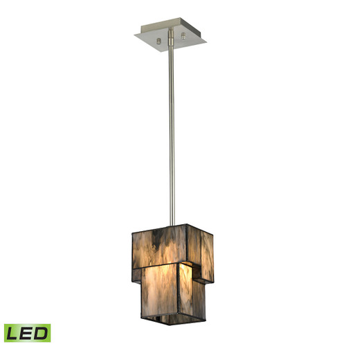 ELK Lighting 72072-1-LED Cubist 1-Light Mini Pendant in Brushed Nickel with White Tiffany Glass - Includes LED Bulb
