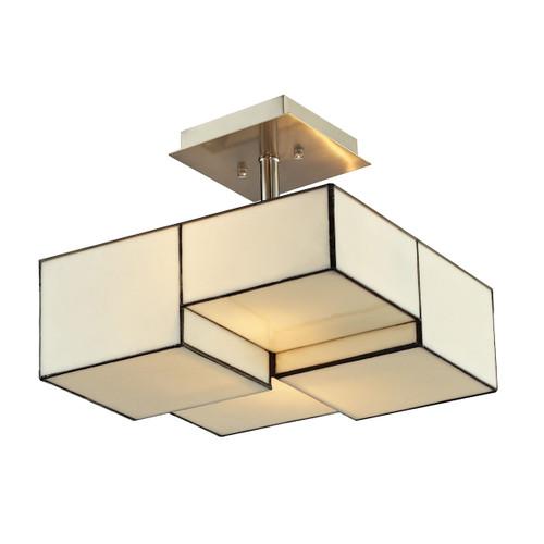 ELK Lighting 72061-2 Cubist 2-Light Semi Flush in Brushed Nickel with White Tiffany Glass
