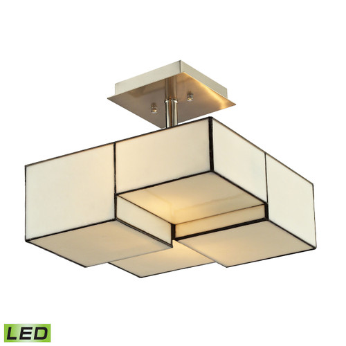 ELK Lighting 72061-2-LED Cubist 2-Light Semi Flush in Brushed Nickel with White Tiffany Glass - Includes LED Bulbs