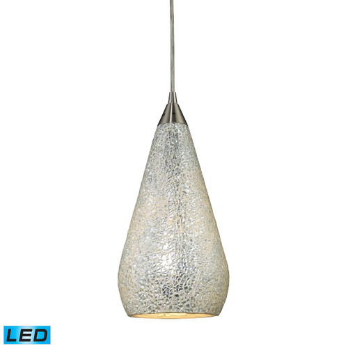 ELK Lighting 546-1SLV-CRC-LED Curvalo 1-Light Mini Pendant in Satin Nickel with Silver Crackle Glass - Includes LED Bulb