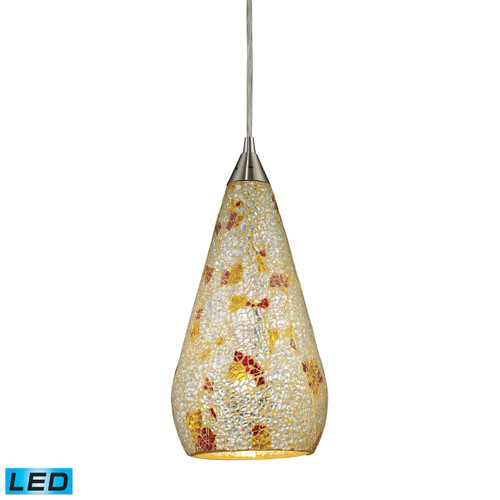 ELK Lighting 546-1SLVM-CRC-LED Curvalo 1-Light Mini Pendant in Satin Nickel with Silver Multi Crackle Glass - Includes LED Bulb