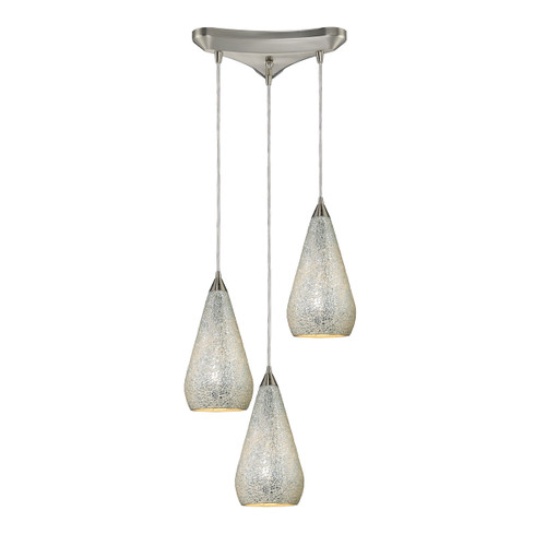 ELK Lighting 546-3SLV-CRC Curvalo 3-Light Triangular Pendant Fixture in Satin Nickel with Silver Crackle Glass