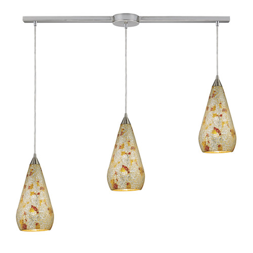 ELK Lighting 546-3L-SLVM-CRC Curvalo 3-Light Linear Pendant Fixture in Satin Nickel with Silver Multi Crackle Glass