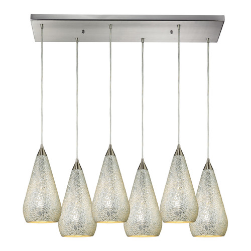 ELK Lighting 546-6RC-SLV-CRC Curvalo 6-Light Rectangular Pendant Fixture in Satin Nickel with Silver Crackle Glass