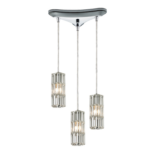 ELK Lighting 31487/3 Cynthia 3-Light Triangular Pendant Fixture in Polished Chrome with Crystal