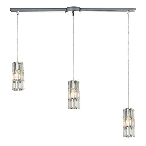 ELK Lighting 31486/3L Cynthia 3-Light Linear Pendant Fixture in Polished Chrome with Crystal
