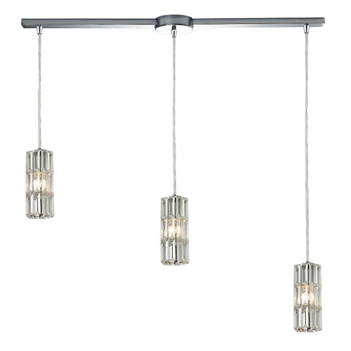 ELK Lighting 31487/3L Cynthia 3-Light Linear Pendant Fixture in Polished Chrome with Crystal