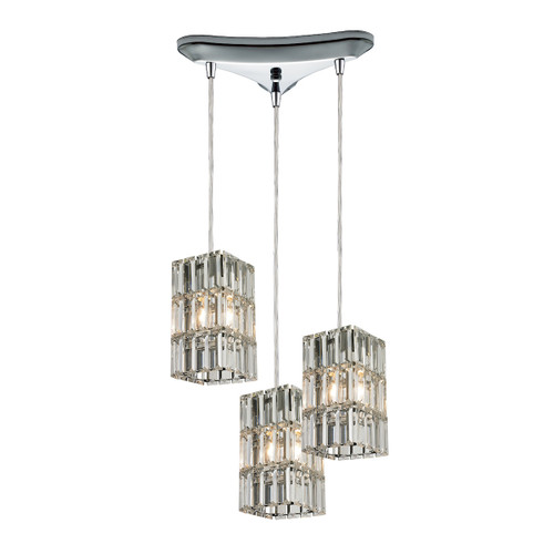 ELK Lighting 31488/3 Cynthia 3-Light Triangular Pendant Fixture in Polished Chrome with Crystal