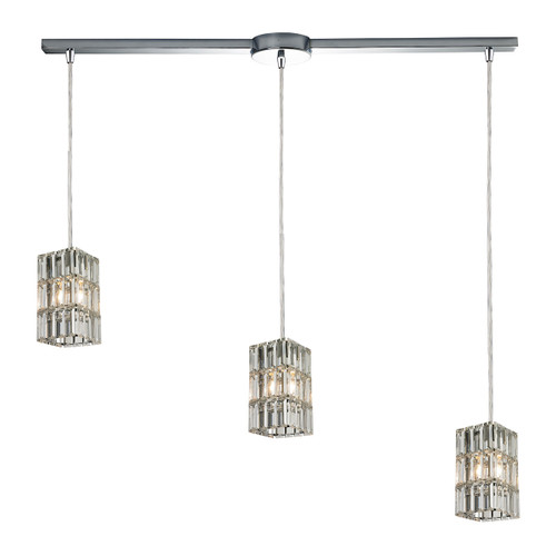 ELK Lighting 31488/3L Cynthia 3-Light Linear Pendant Fixture in Polished Chrome with Crystal