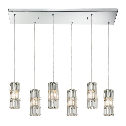 ELK Lighting 31486/6RC Cynthia 6-Light Rectangular Pendant Fixture in Polished Chrome with Crystal