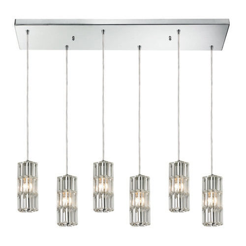 ELK Lighting 31487/6RC Cynthia 6-Light Rectangular Pendant Fixture in Polished Chrome with Crystal