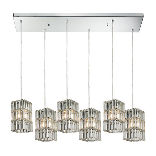 ELK Lighting 31488/6RC Cynthia 6-Light Rectangular Pendant Fixture in Polished Chrome with Crystal