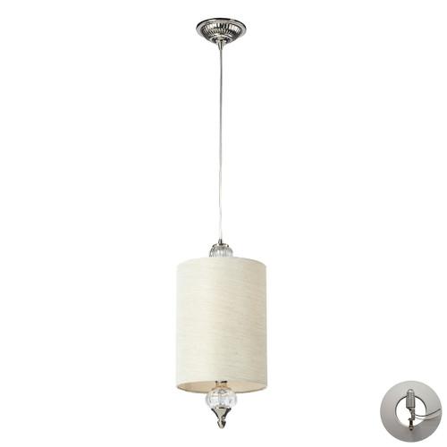 ELK Lighting 31302/1-LA Dalton 1-Light Mini Pendant in Polished Nickel with White Glass - Includes Adapter Kit