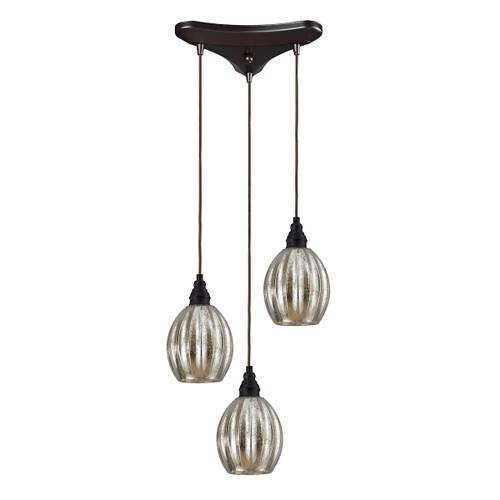 ELK Lighting 46007/3 Danica 3-Light Triangular Pendant Fixture in Oiled Bronze with Mercury Glass