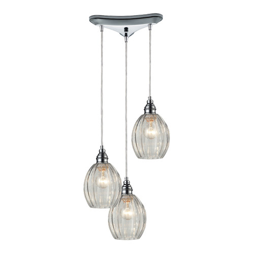 ELK Lighting 46017/3 Danica 3-Light Triangular Pendant Fixture in Polished Chrome with Clear Glass