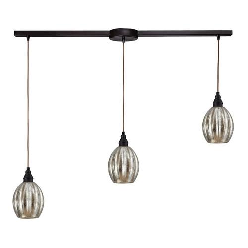ELK Lighting 46007/3L Danica 3-Light Linear Pendant Fixture in Oiled Bronze with Mercury Glass