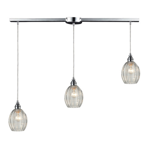ELK Lighting 46017/3L Danica 3-Light Linear Pendant Fixture in Polished Chrome with Clear Glass