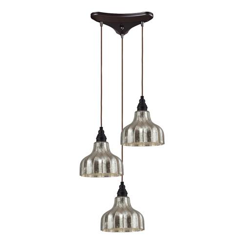 ELK Lighting 46008/3 Danica 3-Light Triangular Pendant Fixture in Oiled Bronze with Mercury Glass