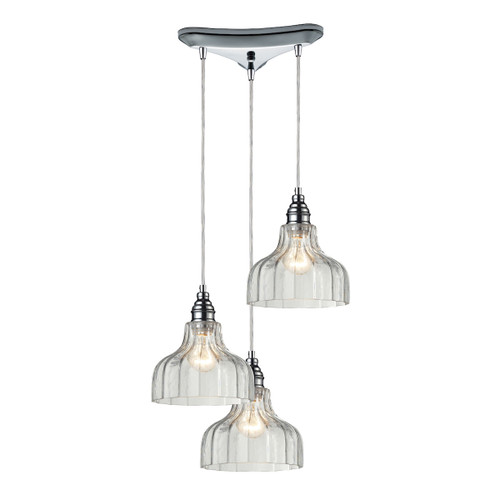 ELK Lighting 46018/3 Danica 3-Light Triangular Pendant Fixture in Polished Chrome with Clear Glass