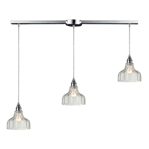 ELK Lighting 46018/3L Danica 3-Light Linear Pendant Fixture in Polished Chrome with Clear Glass
