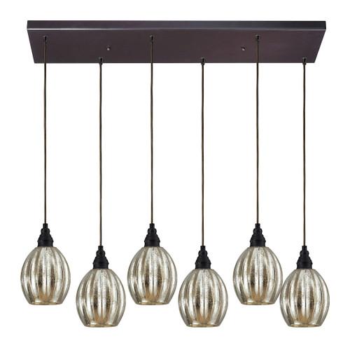 ELK Lighting 46007/6RC Danica 6-Light Rectangular Pendant Fixture in Oiled Bronze with Mercury Glass