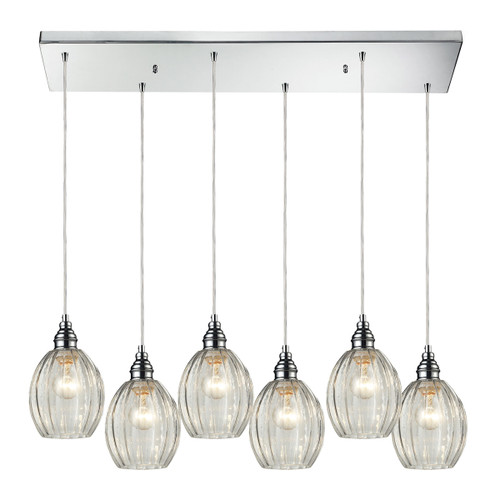ELK Lighting 46017/6RC Danica 6-Light Rectangular Pendant Fixture in Polished Chrome with Clear Glass