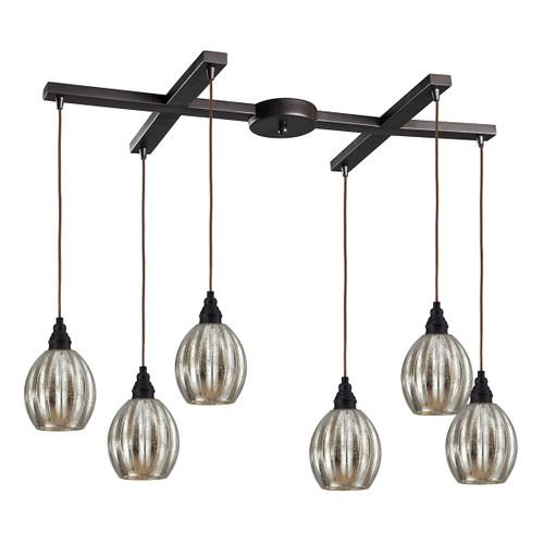 ELK Lighting 46007/6 Danica 6-Light H-Bar Pendant Fixture in Oiled Bronze with Mercury Glass