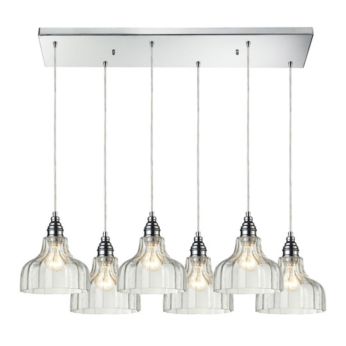 ELK Lighting 46018/6RC Danica 6-Light Rectangular Pendant Fixture in Polished Chrome with Clear Glass