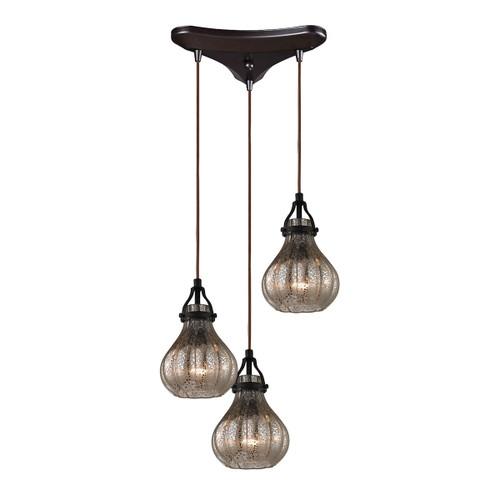 ELK Lighting 46024/3 Danica 3-Light Triangular Pendant Fixture in Oil Rubbed Bronze with Mercury Glass
