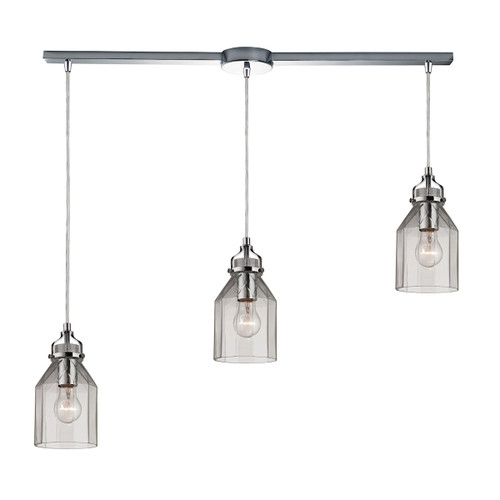 ELK Lighting 46019/3L Danica 3-Light Linear Pendant Fixture in Polished Chrome with Clear Glass
