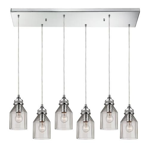 ELK Lighting 46019/6RC Danica 6-Light Rectangular Pendant Fixture in Polished Chrome with Clear Glass