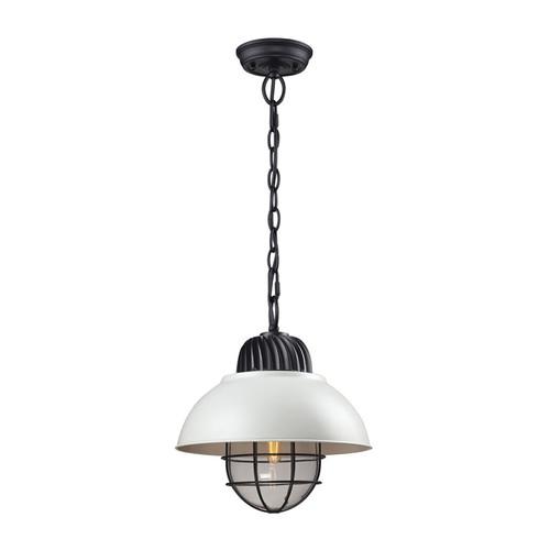 ELK Lighting 66371-1 Darby 1 Light Pendant in Oil-Rubbed Bronze-White