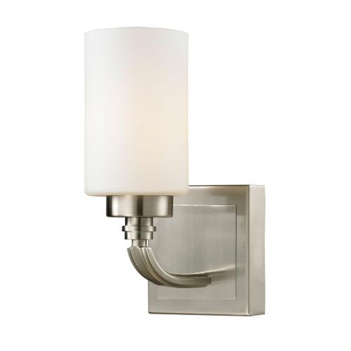 ELK Lighting 11660/1 Dawson 1-Light Vanity Lamp in Brushed Nickel with White Glass