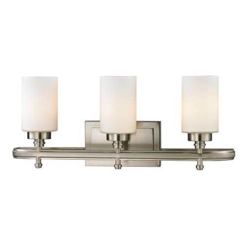 ELK Lighting 11662/3 Dawson 3-Light Vanity Lamp in Brushed Nickel with White Glass