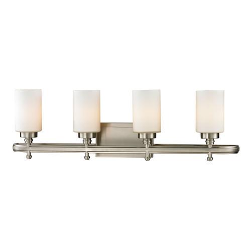 ELK Lighting 11663/4 Dawson 4-Light Vanity Lamp in Brushed Nickel with White Glass