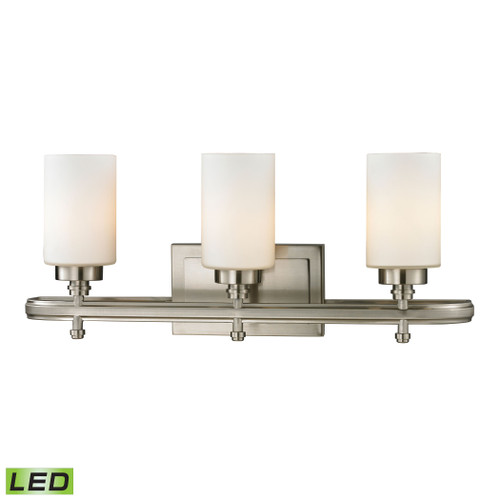 ELK Lighting 11662/3-LED Dawson 3-Light Vanity Lamp in Brushed Nickel with White Glass - Includes LED Bulbs