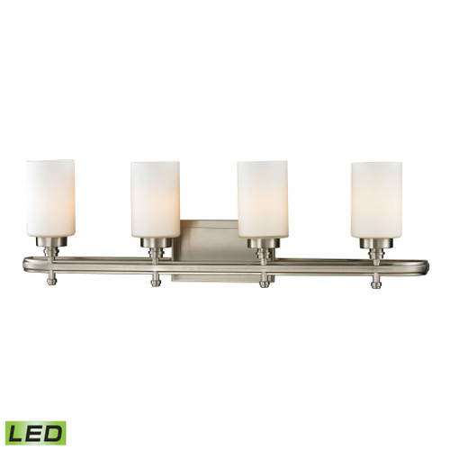 ELK Lighting 11663/4-LED Dawson 4-Light Vanity Lamp in Brushed Nickel with White Glass - Includes LED Bulbs