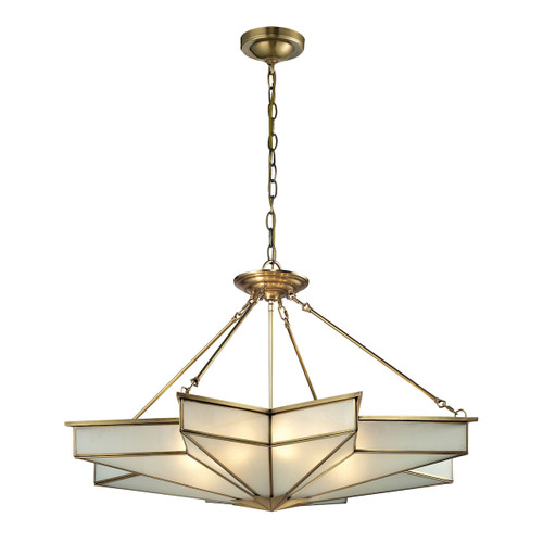 ELK Lighting 22013/8 Decostar 8-Light Chandelier in Brushed Brass with Frosted Glass Panels