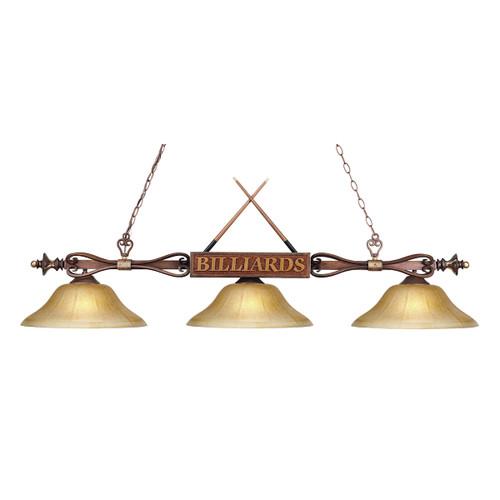 ELK Lighting 194-WD-G6 Designer Classics 3-Light Billiard Light in Wood Patina with Billiard Motif