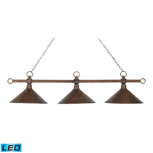 ELK Lighting 182-AC-M2-LED Designer Classics 3-Light Island Light in Copper with Hammered Iron Shades - Includes LED Bulbs