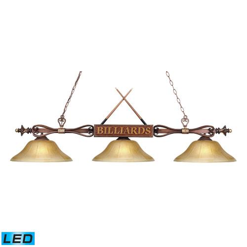 ELK Lighting 194-WD-G6-LED Designer Classics 3-Light Billiard Light in Wood Patina with Billiard Motif - Includes LED Bulbs