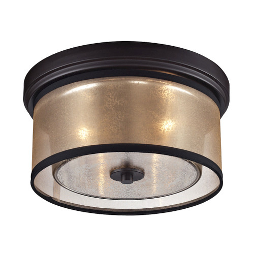 ELK Lighting 57025/2 Diffusion 2-Light Flush Mount in Oiled Bronze with Organza and Mercury Glass