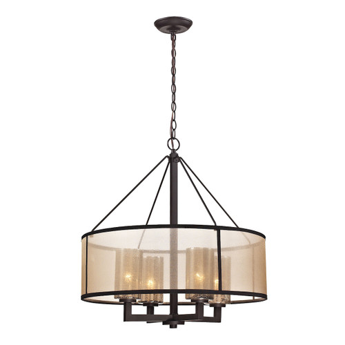 ELK Lighting 57027/4 Diffusion 4-Light Chandelier in Oiled Bronze with Organza and Mercury Glass