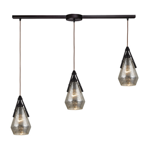 ELK Lighting 46172/3L Duncan 3-Light Linear Pendant Fixture in Oil Rubbed Bronze with Smoked Crackle Glass