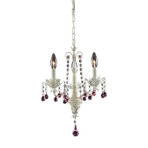 ELK Lighting 4040/3 Elise 3-Light Chandelier in Antique White with Crystal
