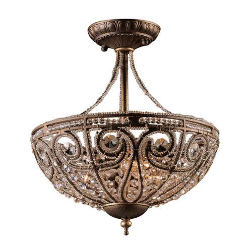 ELK Lighting 5964/3 Elizabethan 3-Light Semi Flush in Dark Bronze with 32% Lead Crystal